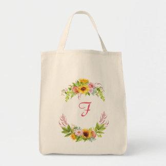 Watercolor Sunflowers Peonies Roses Monogram Boho Tote Bag