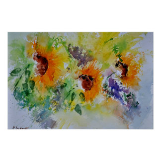 watercolor sunflowers poster