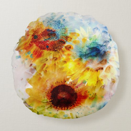 Watercolor Sunflowers Round Pillow