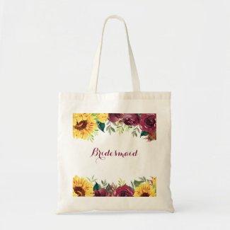 Watercolor Sunflowers Rustic Floral Bridesmaid Tote Bag