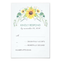 Watercolor Sunflowers Rustic Wedding RSVP Card