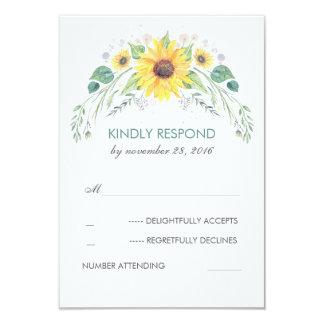 Watercolor Sunflowers Rustic Wedding RSVP Card