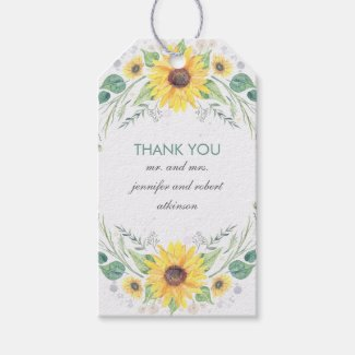 Rustic Sunflowers Wedding Gift/Favor Tags