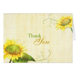 Watercolor Sunflowers + Swirls Wedding Thank You Card