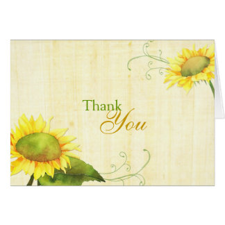 Watercolor Sunflowers + Swirls Wedding Thank You Stationery Note Card