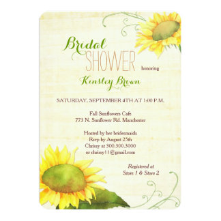 Watercolor Sunflowers Swirly Bridal Shower Card
