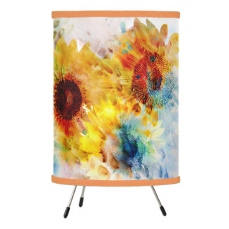 Watercolor Sunflowers Tripod Lamp