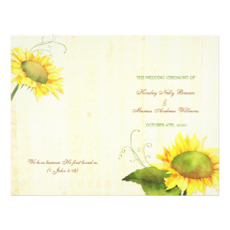 Watercolor Sunflowers Wedding Bi Fold Programs Flyer