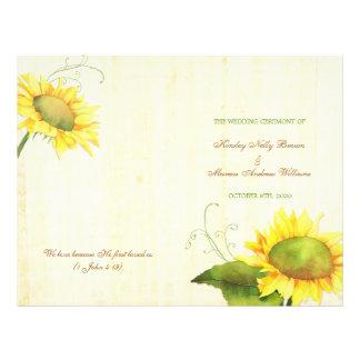"Watercolor Sunflowers Wedding Bi Fold Programs 8.5"" X 11"" Flyer"
