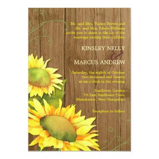 Watercolor Sunflowers + Wood Grain Wedding Card