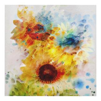 Watercolor Sunflowers Wood Wall Art