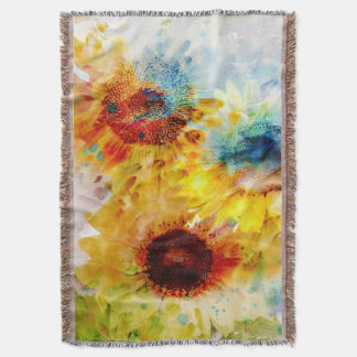 Watercolor Sunflowers Woven Throw Blanket