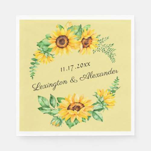 Watercolor Sunflowers Wreath Wedding or Shower Paper Napkin