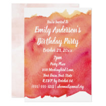 Watercolor Sunset Birthday party Card