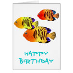 Watercolor Sunset Fish Trio Greeting Card