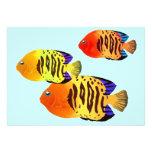 Watercolor Sunset Fish Trio Personalized Invitations
