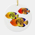 Watercolor Sunset Fish Trio Ornaments