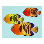 Watercolor Sunset Fish Trio Posters