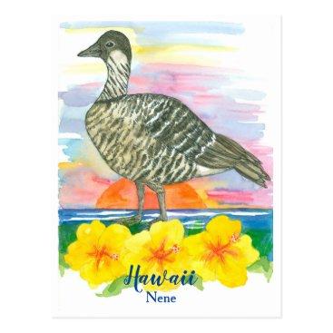 Hawaiian Themed Watercolor Sunset Hawaii State Bird Nene Postcard