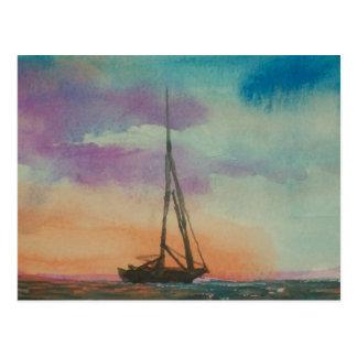 Watercolor Sunset sailing Postcard