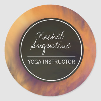 Watercolor Sunset Sky YOGA Meditation Instructor Classic Round Sticker