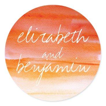 Beach Themed watercolor swash orange wedding classic round sticker