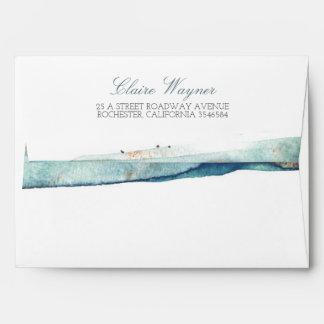 Watercolor Swash Vintage Beach Wedding Envelope