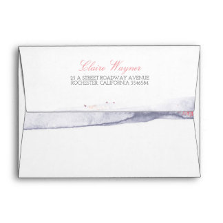 Watercolor Swash Vintage Pastel Beach Wedding Envelope