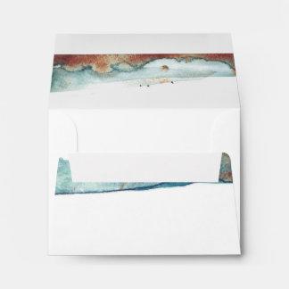 Watercolor Swash Vintage Seaside Wedding RSVP Envelope
