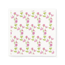 Watercolor Sweet Pea Flower Pattern  Floral Design Napkin