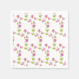 Watercolor Sweet Pea Flower Pattern  Floral Design Napkin