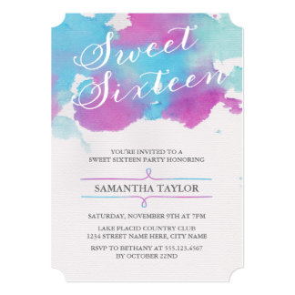 Watercolor Sweet Sixteen Party Invite