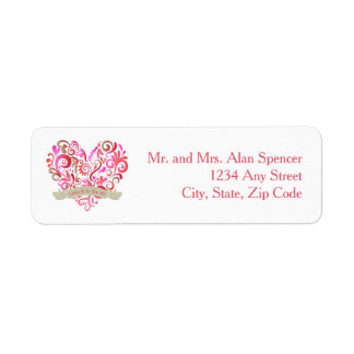 Watercolor Swirl Heart Pink Gold Labels
