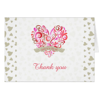 Watercolor Swirl Heart Pink Gold Thank You Card