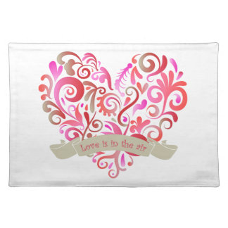 Watercolor Swirl Heart Pink Gold Valentine Placemat
