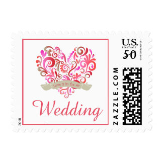 Watercolor Swirl Heart Pink Gold Wedding Postage