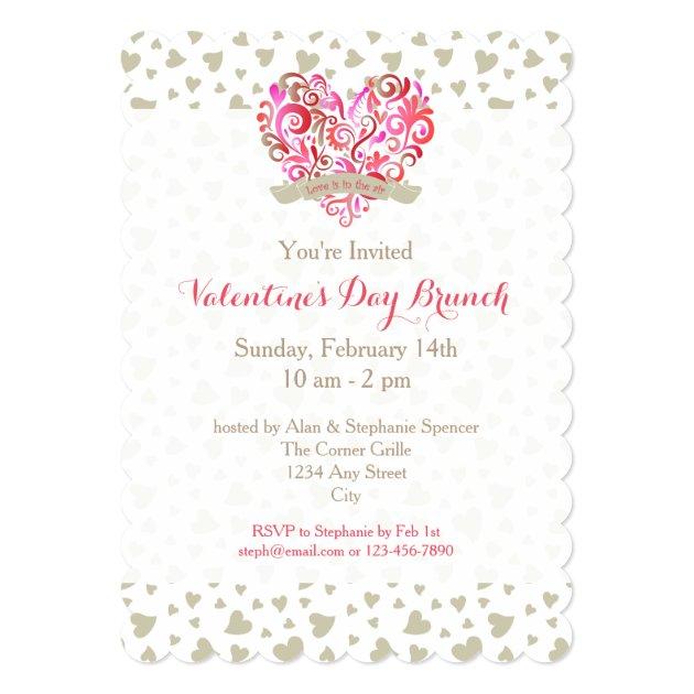 Watercolor Swirl Heart Valentine's Day Brunch 5x7 Paper Invitation Card (back side)