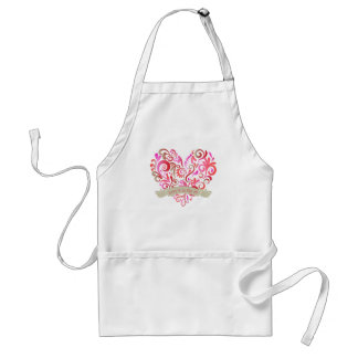 Watercolor Swirl Hearts Pink Gold Valentine Adult Apron