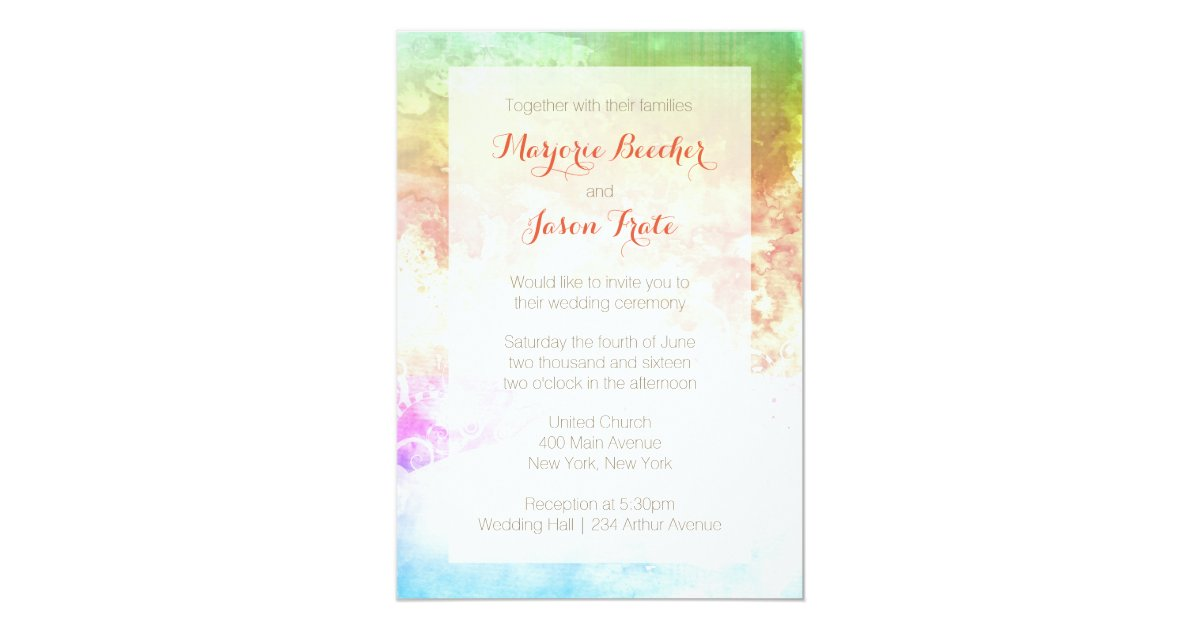 Sunrise Wedding Invitations: Watercolor Swirl Wedding Invitation Sunrise Multi