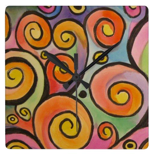 Watercolor Swirls Clocks