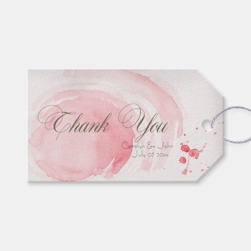 Watercolor Swirls Wedding Day Thank You Gift Tags Zazzle
