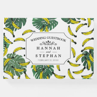 Watercolor Swiss Cheese Plant and Bananas Guest Book