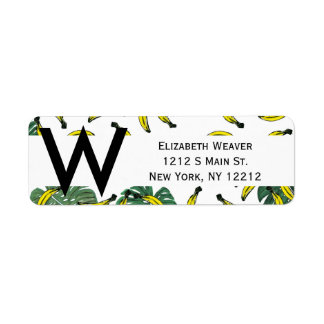Watercolor Swiss Cheese Plant and Bananas Label