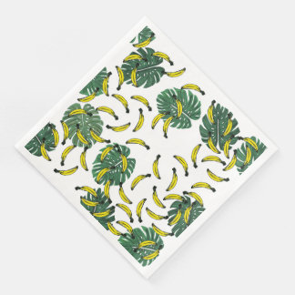 Watercolor Swiss Cheese Plant and Bananas Paper Dinner Napkin