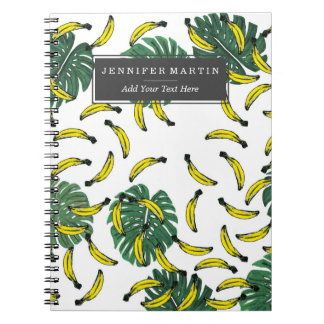 Watercolor Swiss Cheese Plant and Bananas Spiral Notebook