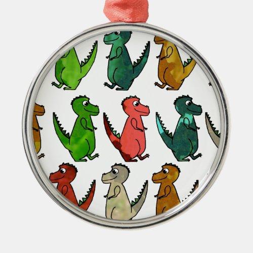 Watercolor T-Rex Dinosaur Print Metal Ornament