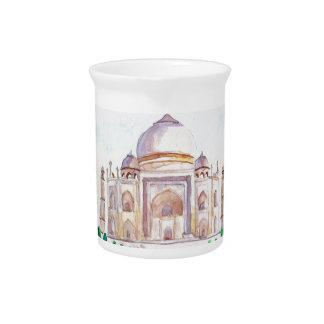 Watercolor Taj Mahal Drink Pitchers