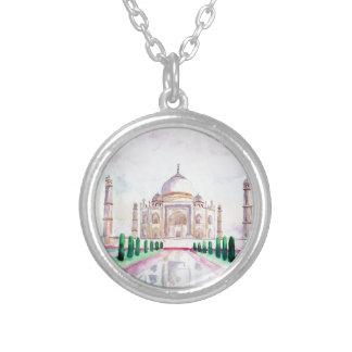 Watercolor Taj Mahal Round Pendant Necklace