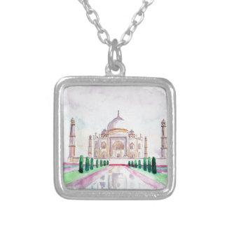 Watercolor Taj Mahal Square Pendant Necklace