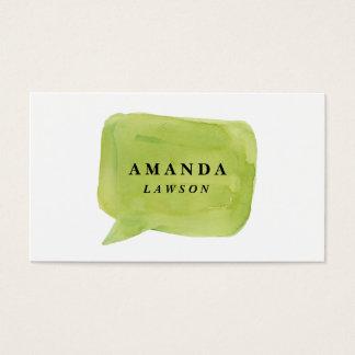Watercolor talk bubble business card